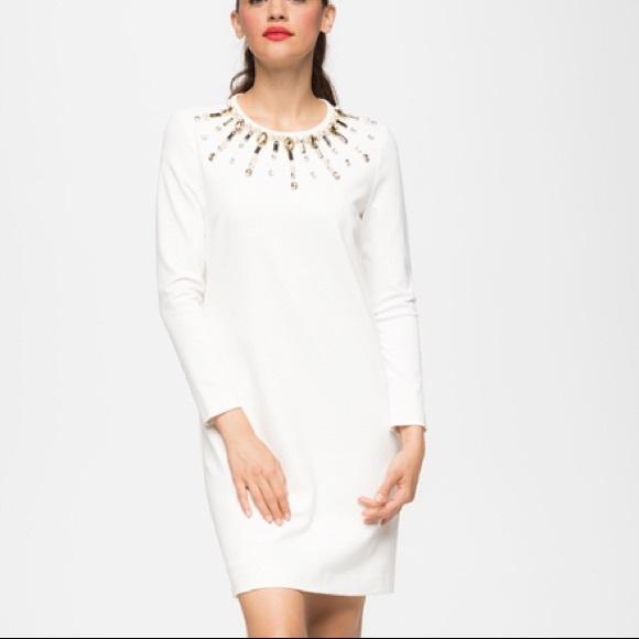 Long Sleeve Cream Shift Dress